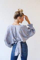Light Blue - Floral Blouse from Dress Up
