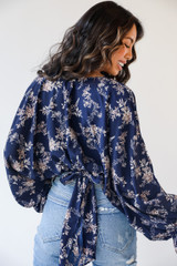 Navy - Dress Up model wearing a Floral Blouse