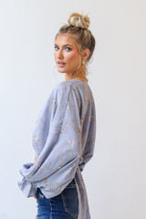 Floral Blouse in Light Blue Side View