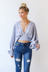 Floral Blouse in Light Blue Front View