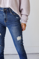 Close Up of Distressed Skinny Jeans