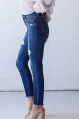 Distressed Skinny Jeans Side View on model