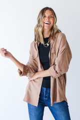 Taupe - Model wearing a Shacket with a black tank top