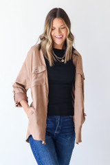 Taupe - Dress Up model wearing a Shacket with a black tank top