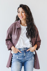 Purple - Dress Up model wearing a Shacket with jeans