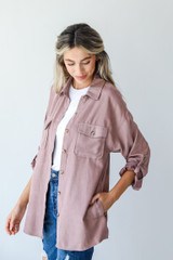 Shacket in Blush Side View