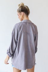 Shacket in Grey Back View