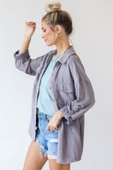 Shacket in Grey Side View