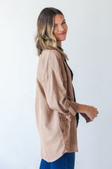 Shacket in Taupe Side View
