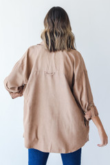 Shacket in Taupe Back View