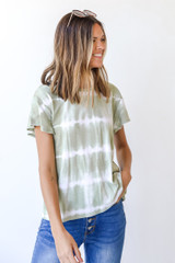 Olive - Dress Up model wearing a Tie-Dye Tee with jeans