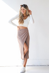 Taupe - Ribbed Midi Skirt from Dress Up