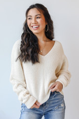 Ivory - Model wearing a Chenille Sweater