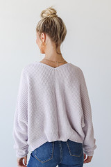 Chenille Sweater in Lilac Back View