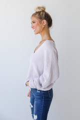 Chenille Sweater in Lilac Side View