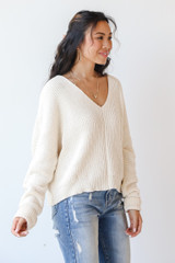 Chenille Sweater in Ivory Side View