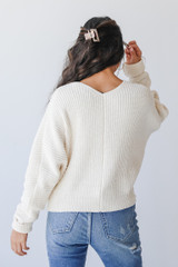 Chenille Sweater in Ivory Back View