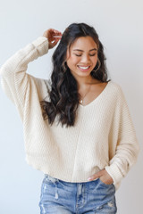 Chenille Sweater in Ivory Front View