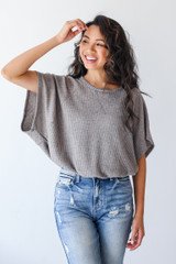 Grey - Waffle Knit Top from Dress Up