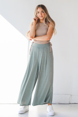 Olive - Ribbed Pants