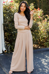 Taupe - Ribbed Pants Front View
