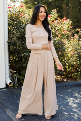 Taupe - Ribbed Pants Front View on model