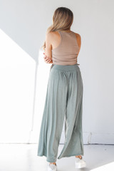 Ribbed Pants in Olive Back View