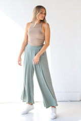 Ribbed Pants in Olive Front View