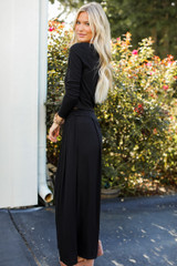Ribbed Pants in Black Side View