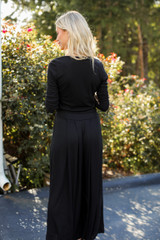Ribbed Pants in Black Back View