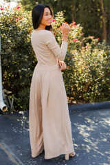 Ribbed Pants in Taupe Back View