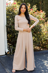 Ribbed Pants in Taupe Front View