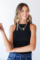 Black - Dress Up model wearing an Everyday High-Neck Ribbed Tank