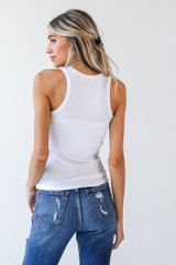 Everyday High-Neck Ribbed Tank in White Back View
