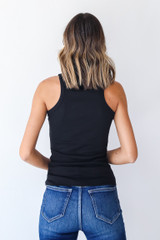 Everyday High-Neck Ribbed Tank in Black Back View
