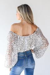 Spotted Blouse in Ivory Back View