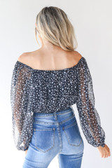 Spotted Blouse in Navy Back View