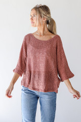 Mauve - Model wearing a Loose Knit Top