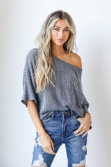 Navy - Loose Knit Top Front View