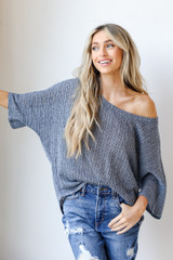 Navy - Loose Knit Top Front View on model
