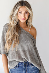 Grey - Dress Up model wearing a Loose Knit Top with jeans