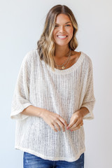 Ivory - Dress Up model wearing a Loose Knit Top with denim