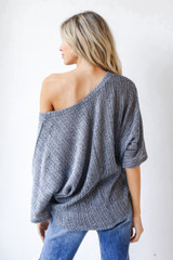 Loose Knit Top in Navy Back View