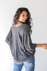 Loose Knit Top in Charcoal Back View