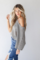 Loose Knit Top in Grey Side View