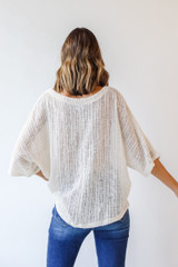 Loose Knit Top in Ivory Back View