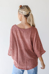 Loose Knit Top in Mauve Back View