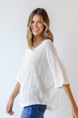 Loose Knit Top in Ivory Side View