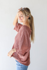 Loose Knit Top in Mauve Side View