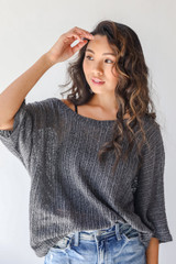 Loose Knit Top in Charcoal Front View